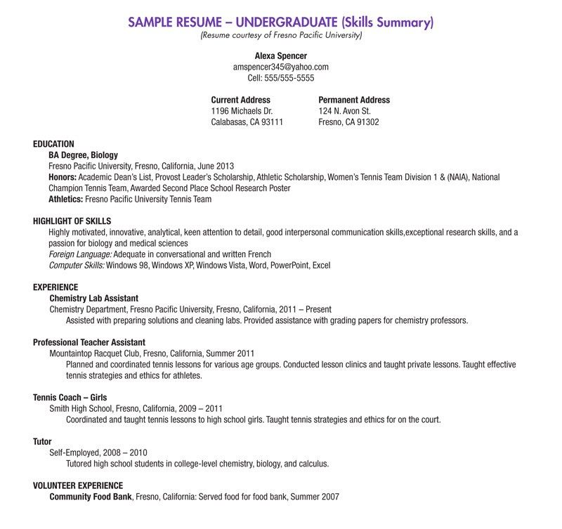 Blank Resume Template For High School Students College student - summary on resume example