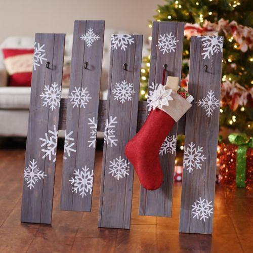 Snowflakes Wooden Stocking Holder Mantle Stockings And