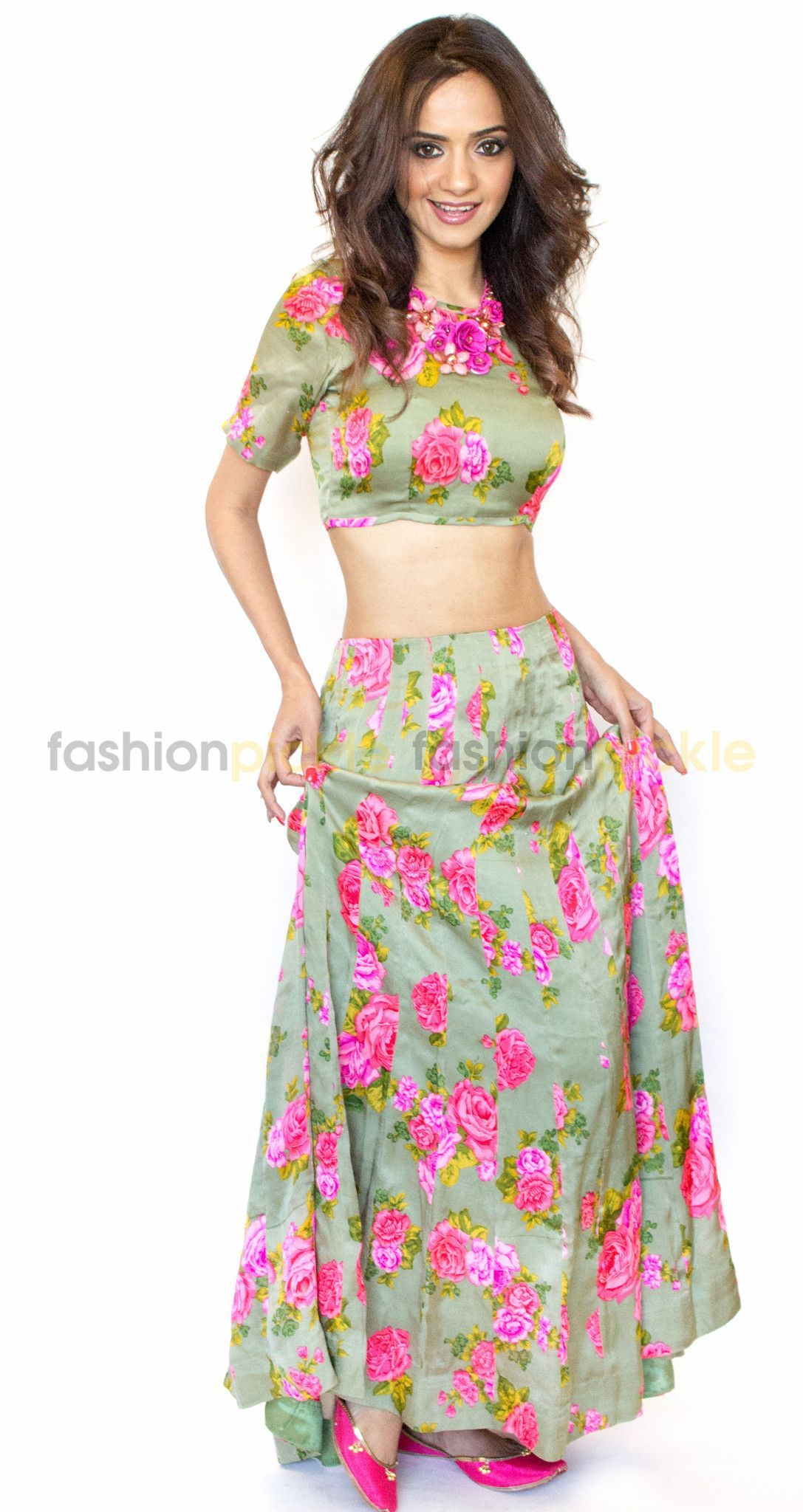 248c46ab7b7bb9 Long Silk Skirt with Matching Crop Top Shoulder Sleeve