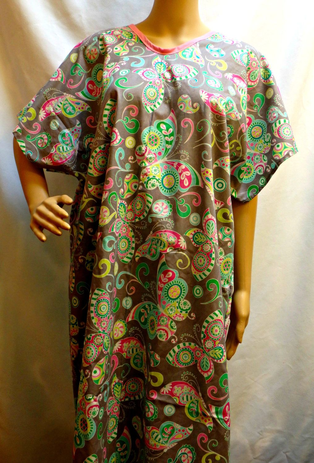 Cotton Hospital IV Gown With Snaps Fits to Plus Size Paisley ...