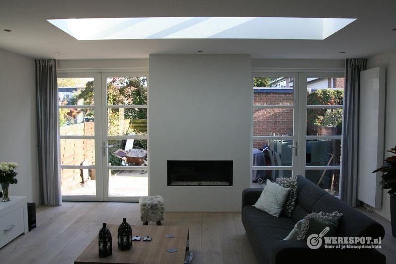 Openhaard in uitbouw google zoeken uitbouw pinterest search fireplaces and doors - Afscheiding glas keuken woonkamer ...