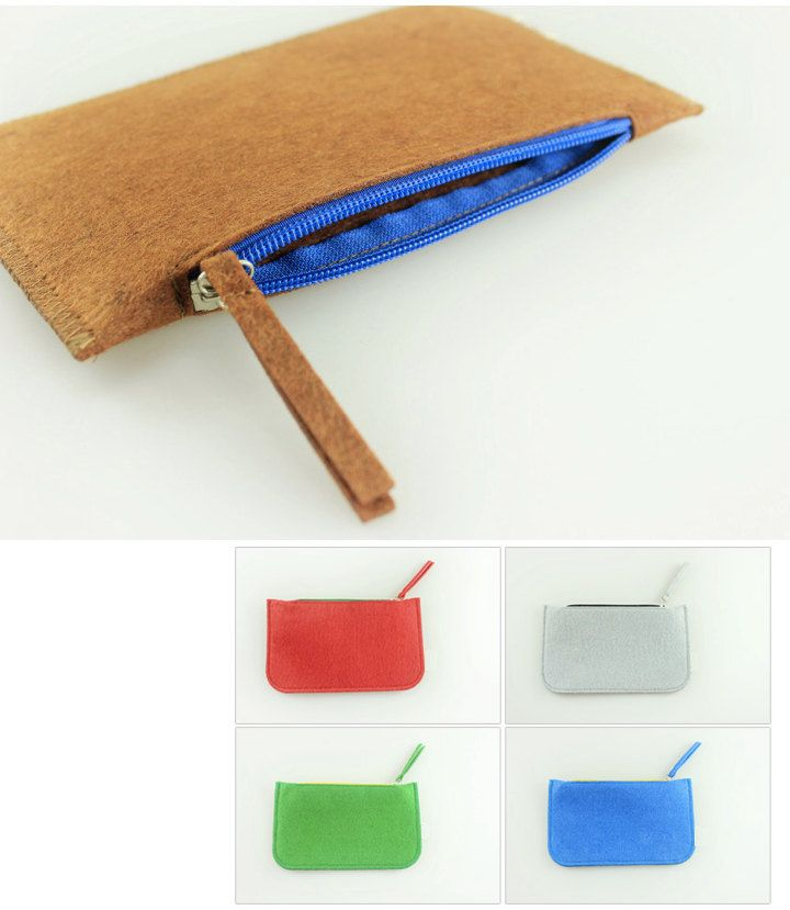 wow, this is a very unique way to make a zipper pouch! (wool felt ...