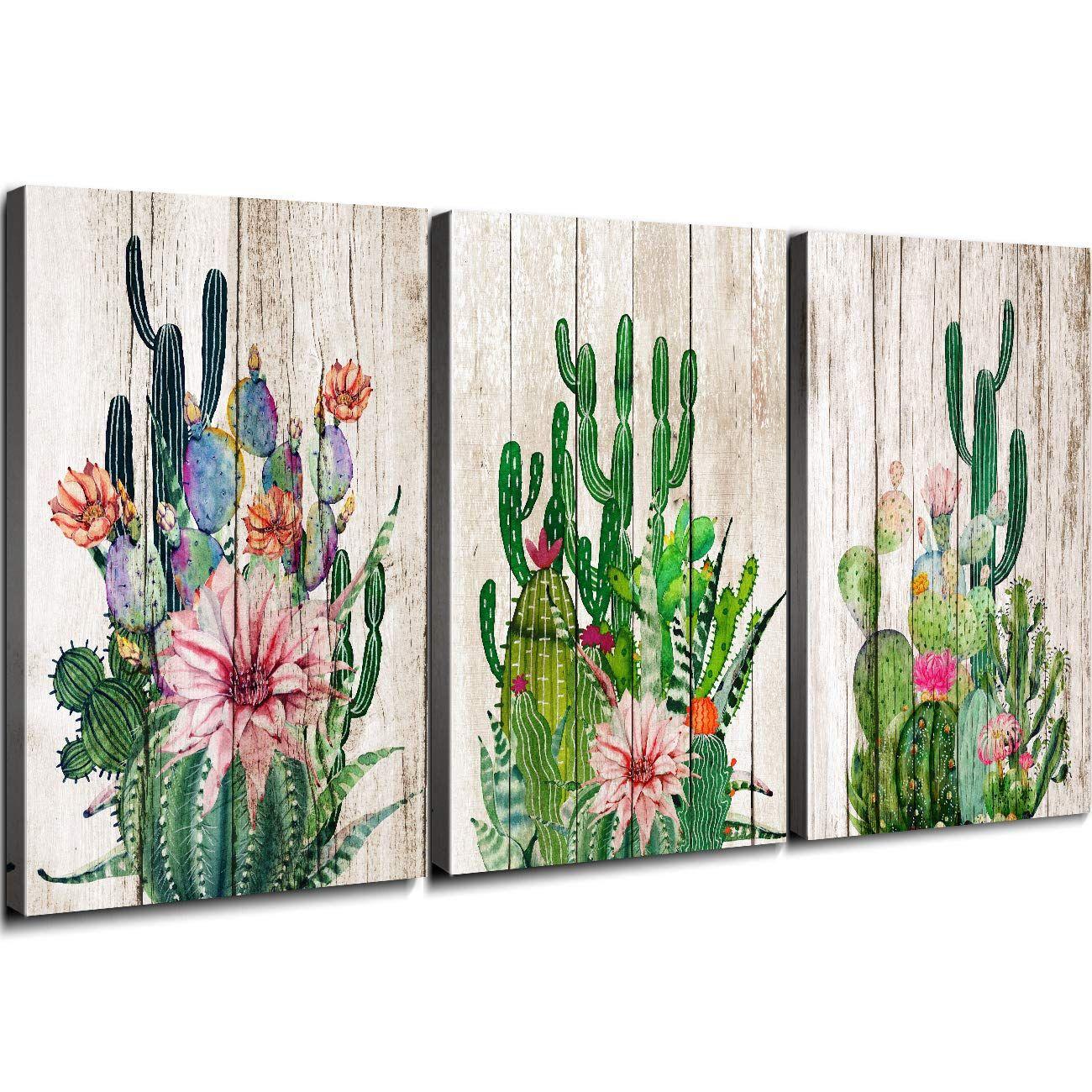 Yoooahu Cactus Decor Bathroom Canvas Prints Wall Art Green Tropical Desert Fleshy Plant Watercolor Paintings H In 2020 Kaktus Inneneinrichtung Papierpflanzen Wandkunst