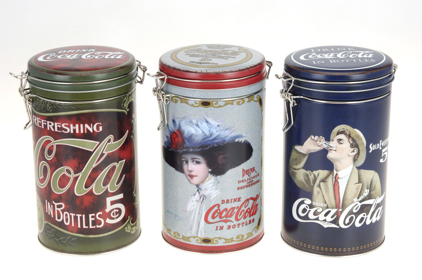 Coca Cola Design Storage Tins Cannisters With Clip Lock 3 Designs