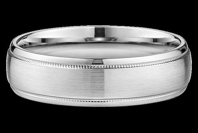 Men's 6MM SandpaperFinish Polished Edge Wedding Ring In