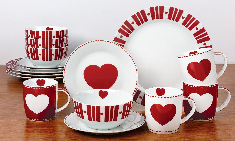 16 Piece Nordic Heart Dinner Set Amazon Co Uk Kitchen Home Dinner Sets Red Dinnerware Tableware