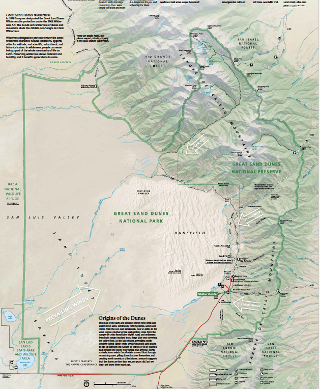 Mosca Colorado Map.Great Sand Dunes National Park And Preserve Map Colorado The