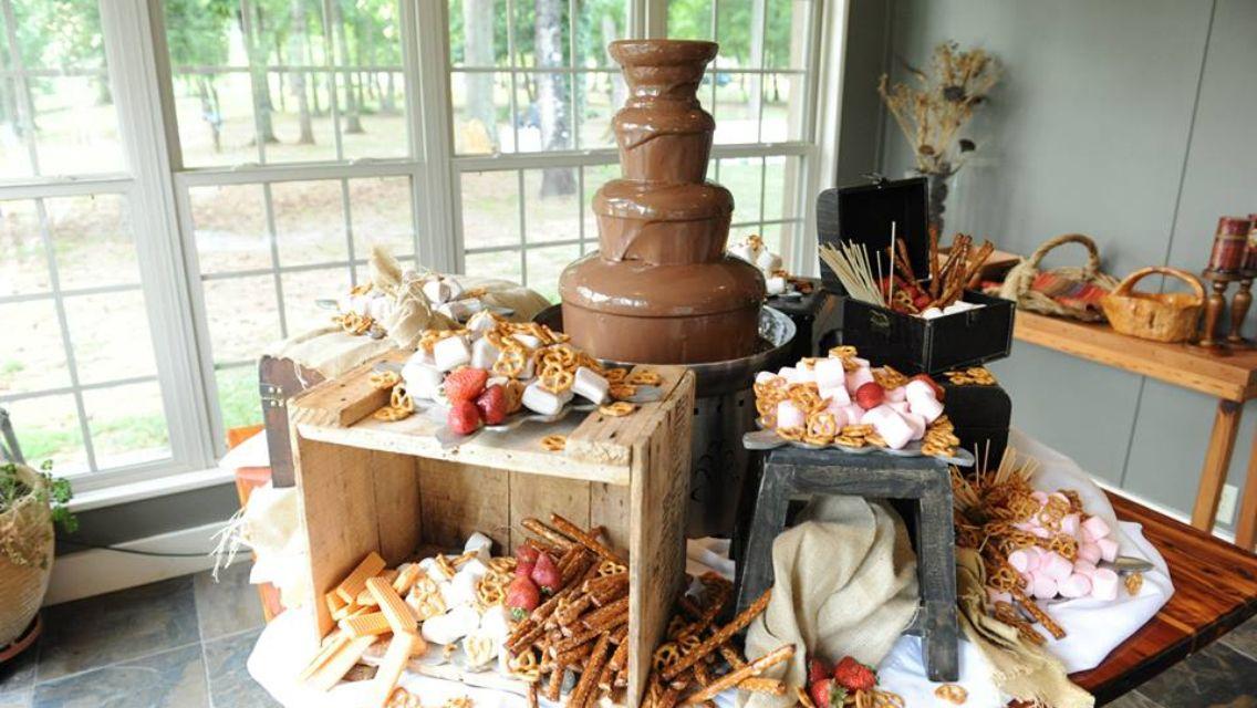Chocolate fountain wedding displays