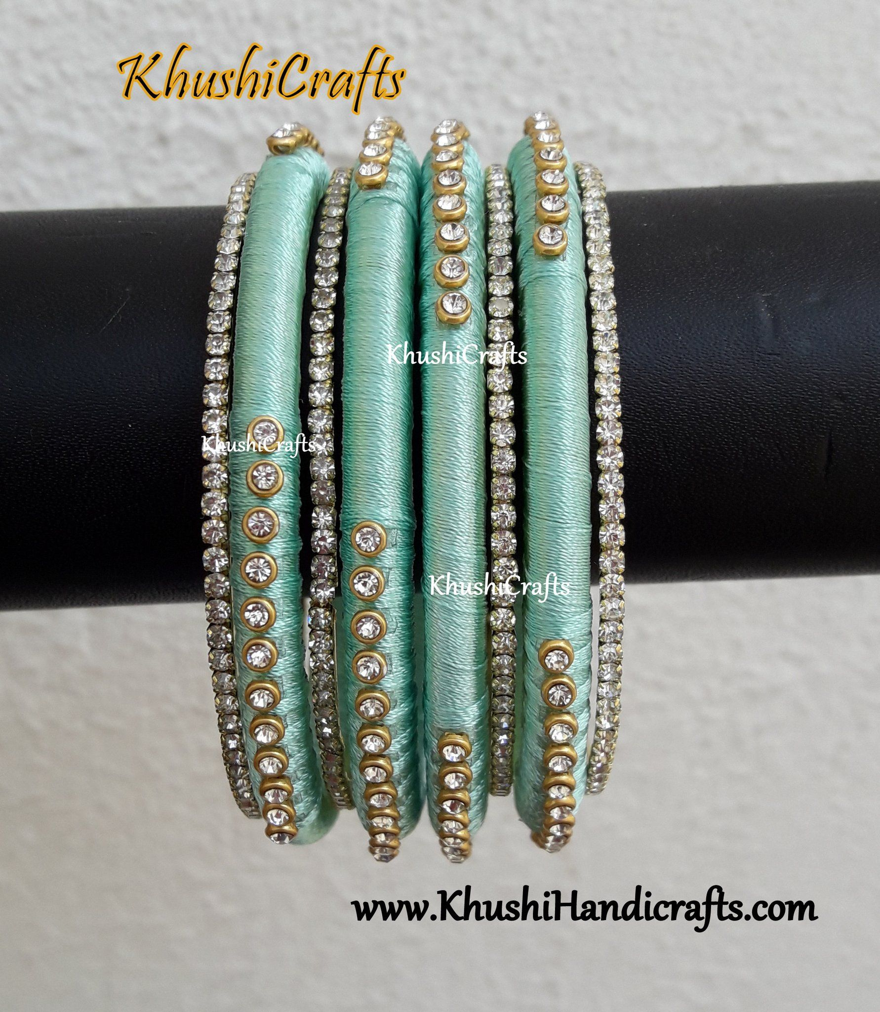 Pastel Green silk thread Designer bangles | silk thread jewellery ...