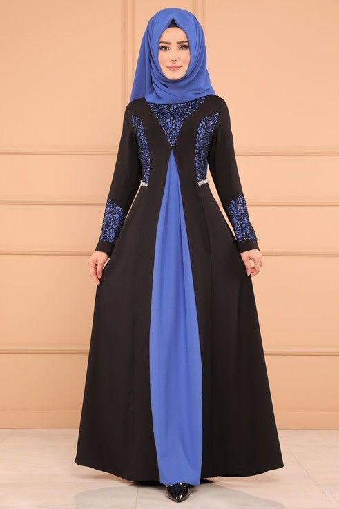 Modaselvim Bugune Ozel Cift Renkli Abiye Ech7214 S Saks Model Pakaian Hijab Pakaian Wanita Model Pakaian