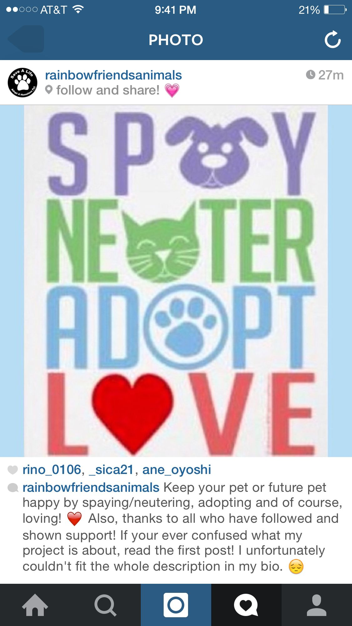 Adopt don't shop  Spay and neuter