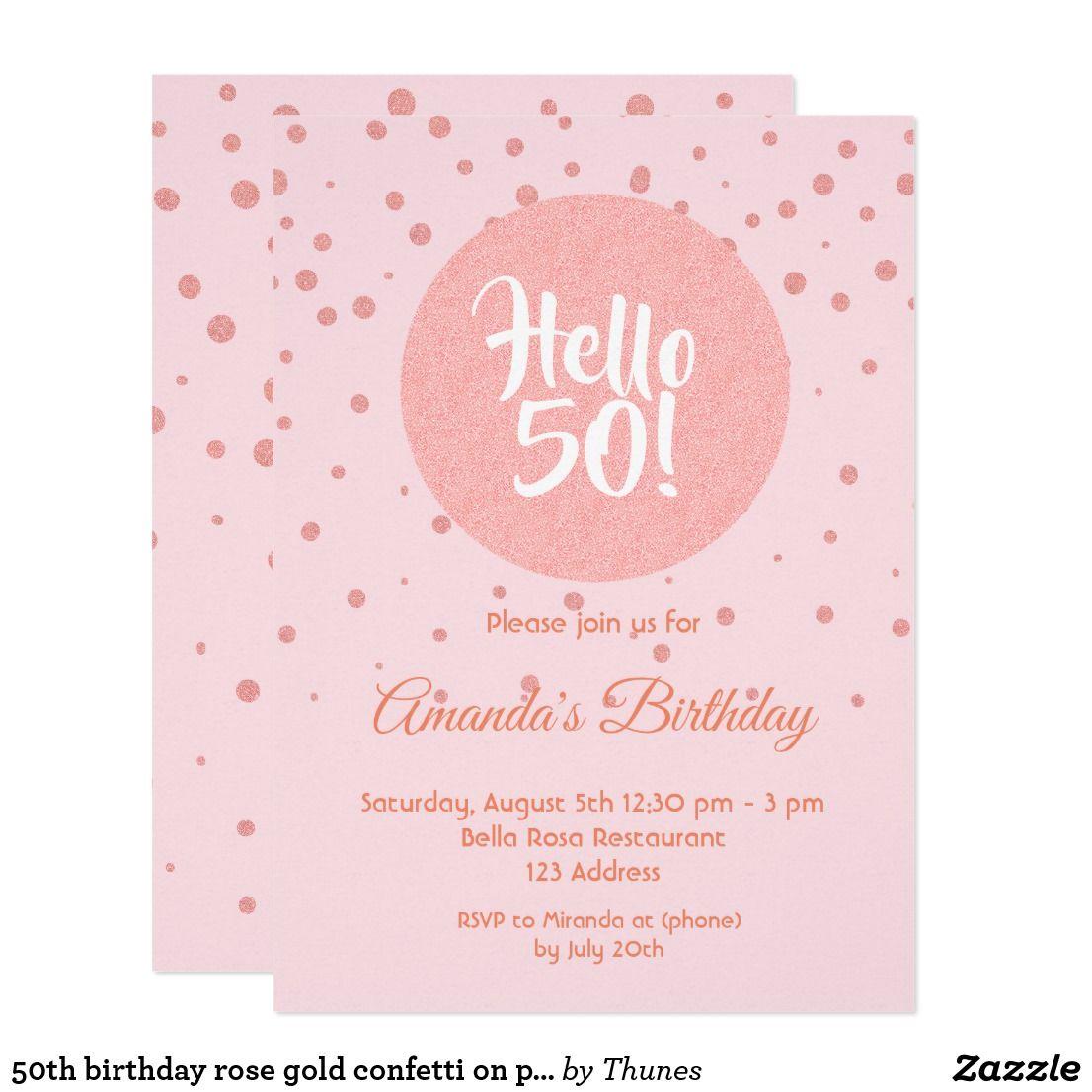 50th birthday rose gold confetti on pink hello 50