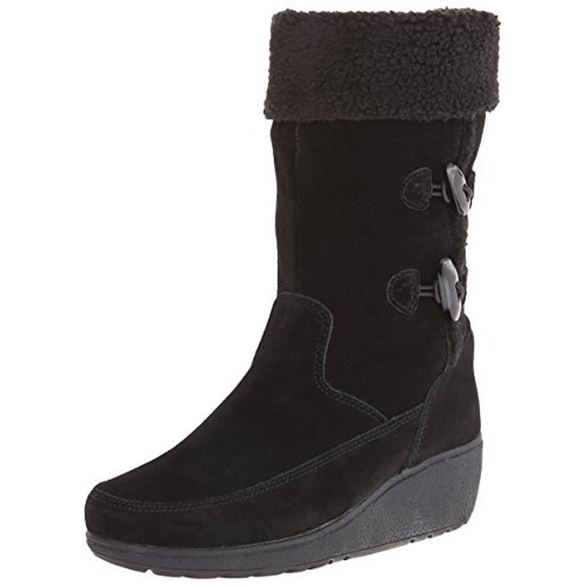 Khombu Womens Clara Suede Mid-Calf Snow Boots