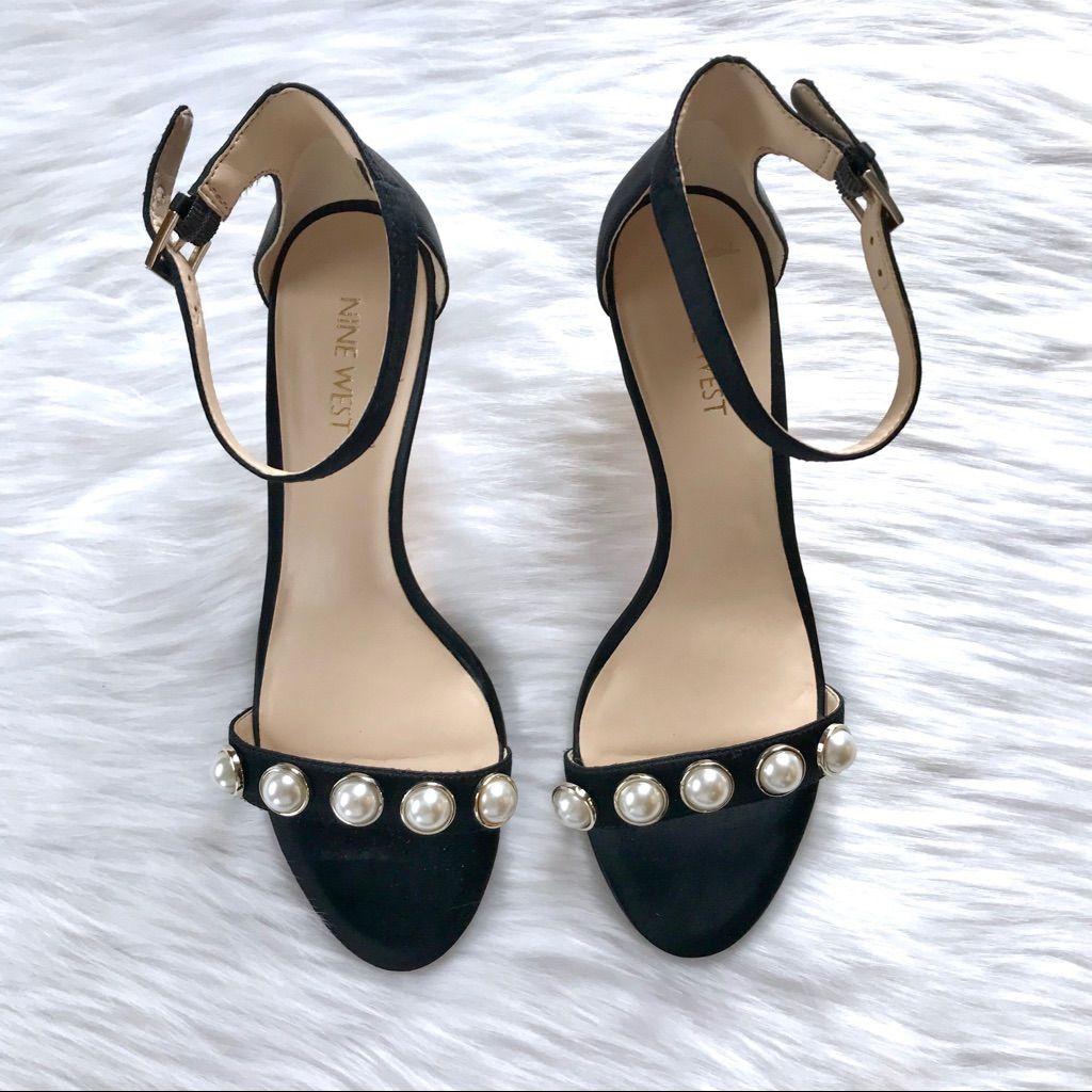Nine West Shoes Nine West Lipstick Pearl Black Kitten Heel Sandals Color Black White Size 7 5 Kitten Heel Sandals Heels Kitten Heels