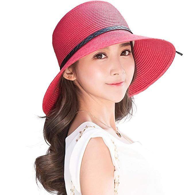 f26b2db594c  34.46 Siggi Floppy Summer Sun Beach Straw Fedoras Panama Hats Wide Brim  for Women Red -