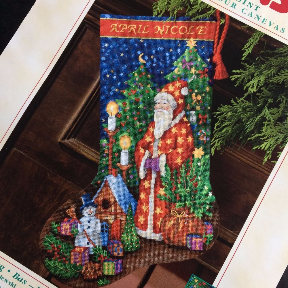 Dimensions Christmas Holiday Needlepoint Stocking Craft