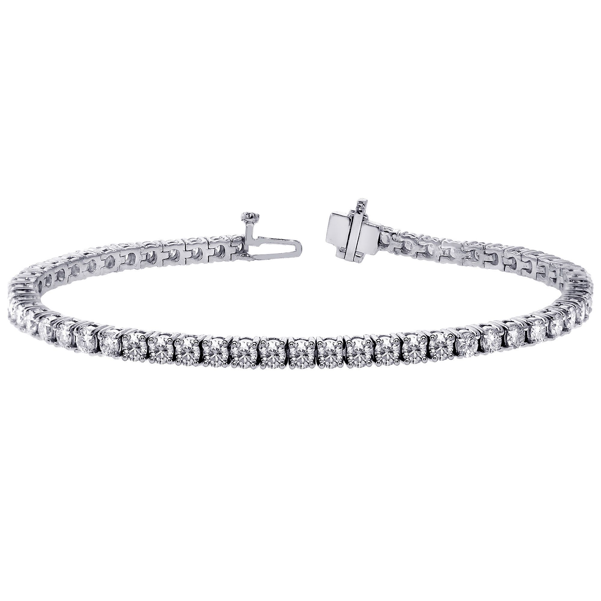 14k White Gold 7 TDW Diamond Tennis Bracelet