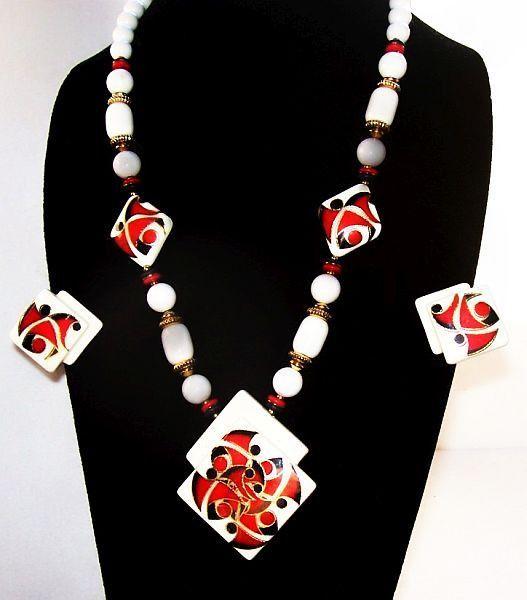 Porcelain Necklace Earring Set Signed Japan Red White Black Gold Metal Summer Vintage