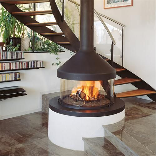 Fireplace Freestanding Gas Contemporary Three Side View Contemporary Freestanding Fireplace