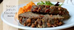 This meatloaf is flavor packed with ranch seasonings, garlic and lots of bacon! Gluten-free and dairy free -- perfect meatloaf recipe for special diets.