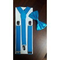 2512a60e4 Kit Suspensório + Gravata Borboleta Azul Tiffany Infantil