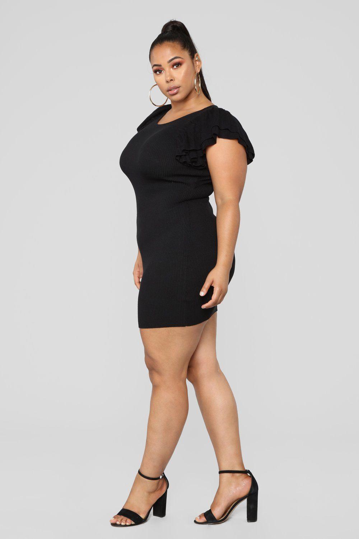 Maria Ruffle Sweater Dress - Black   Tabria Majors   Dresses, Black ...