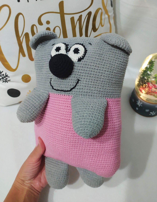 Teddy Bear Plush/ Soft Stuffed Bear/ Gray Plush Animal Pillow/Personalized bear