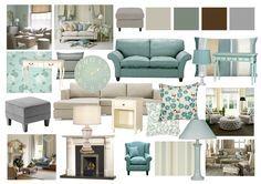 Duck Egg and Grey Living Room Mood Boards by Amy Farrar, via Behance