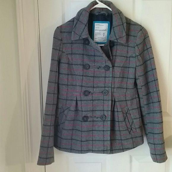 Aeropostal wool blend plaid coat. Perfect winter coat