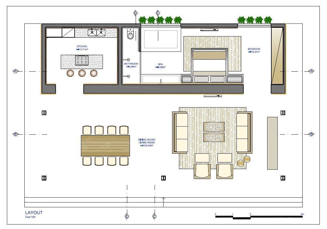 Planos de casa peque a de un dormitorio con dise o de for Diseno de interiores de casas planos