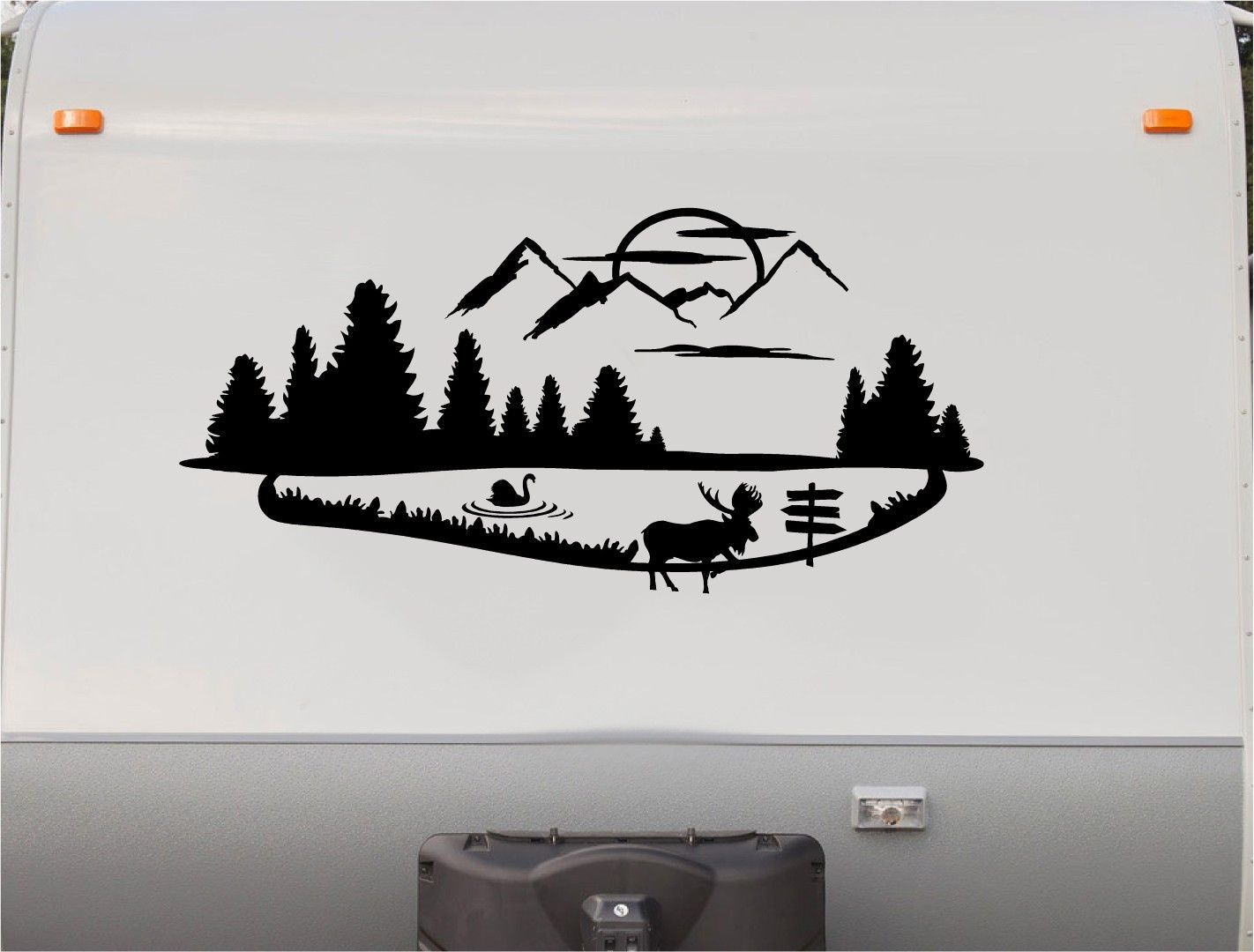 Mountains Lake Deer RV Camper Th Wheel Motorhome Vinyl Decal - Custom rv vinyl decals