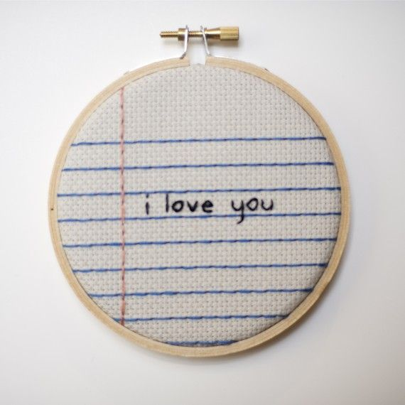 Notebook Paper Cross Stitch Embroidery Wall Hanging 'i love you' Hoop