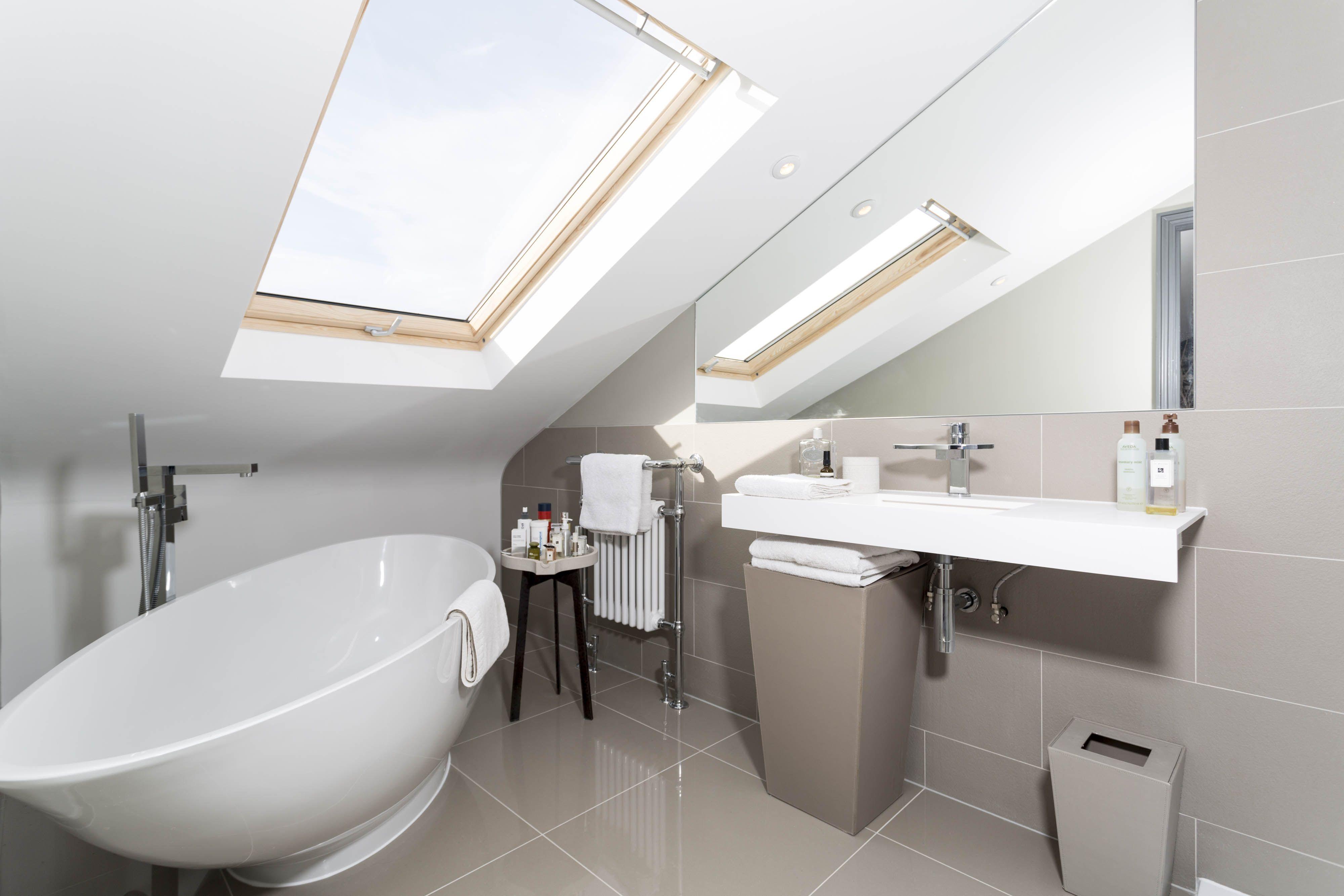 Grey Tiled Loft Conversion Bathroom With Beautiful Free