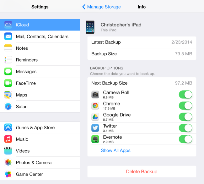 Icloud Manage Storage Backups