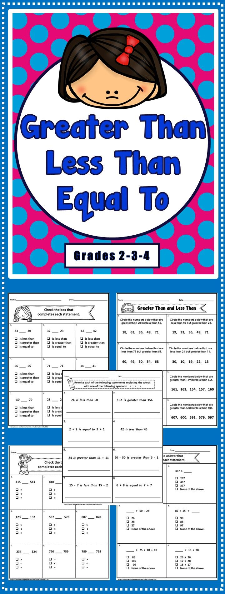 Workbooks more than less than worksheets for kindergarten : Greater Than, Less Than Printables | Comparing numbers, Worksheets ...