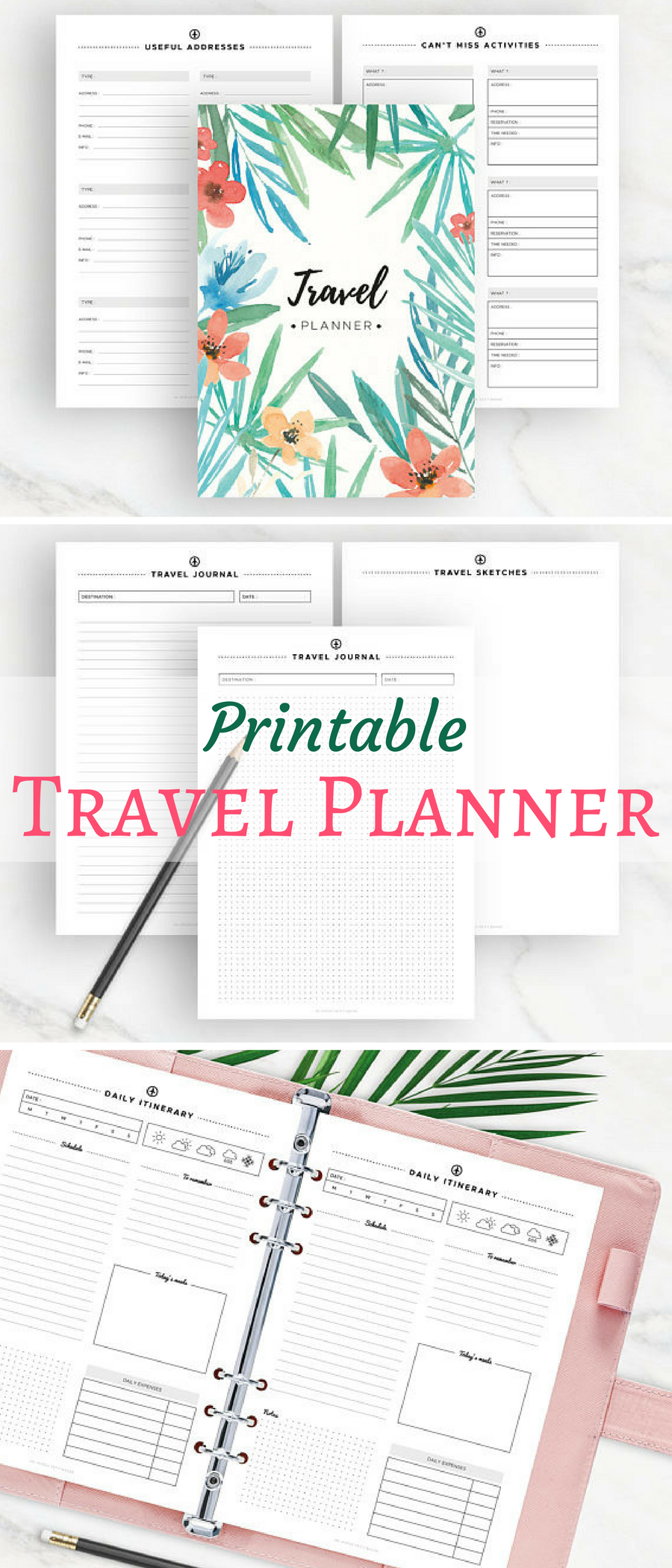travel planner printable planner packing list road map daily