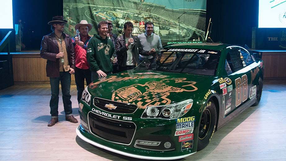 """Dale Jr. and the No. 88 #DEWshine for Bristol. Also pictured, left to right: Chance McCoy, Critter Fuqua, Cory Younts, & Ketch Secor of """"Old Crow Medicine Show"""" with BMS executive vice president and general manager Jerry Caldwell"""