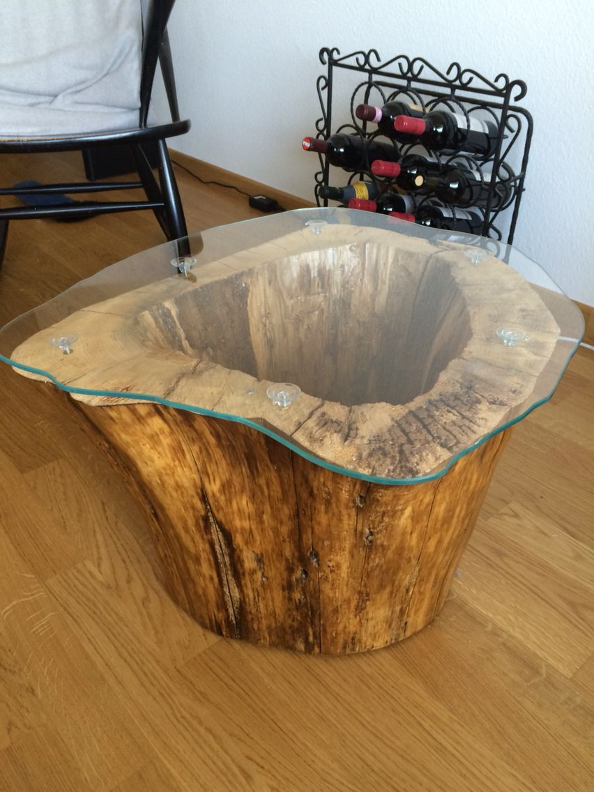 I Made This Coffee Table With A Lamp Inside Out Of An Old Hollowed Out Tree Stump Coffeetable