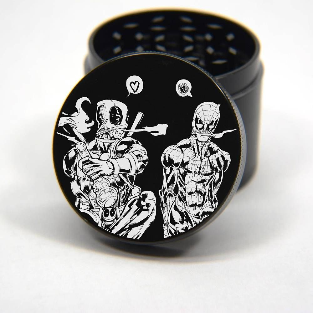 Laser Engraved Herb Grinder Deadpool Spiderman Blowing Smoke Comix Art Design 4 Piece Grinder 228 Https Deadpool And Spiderman Laser Engraving Rings For Men