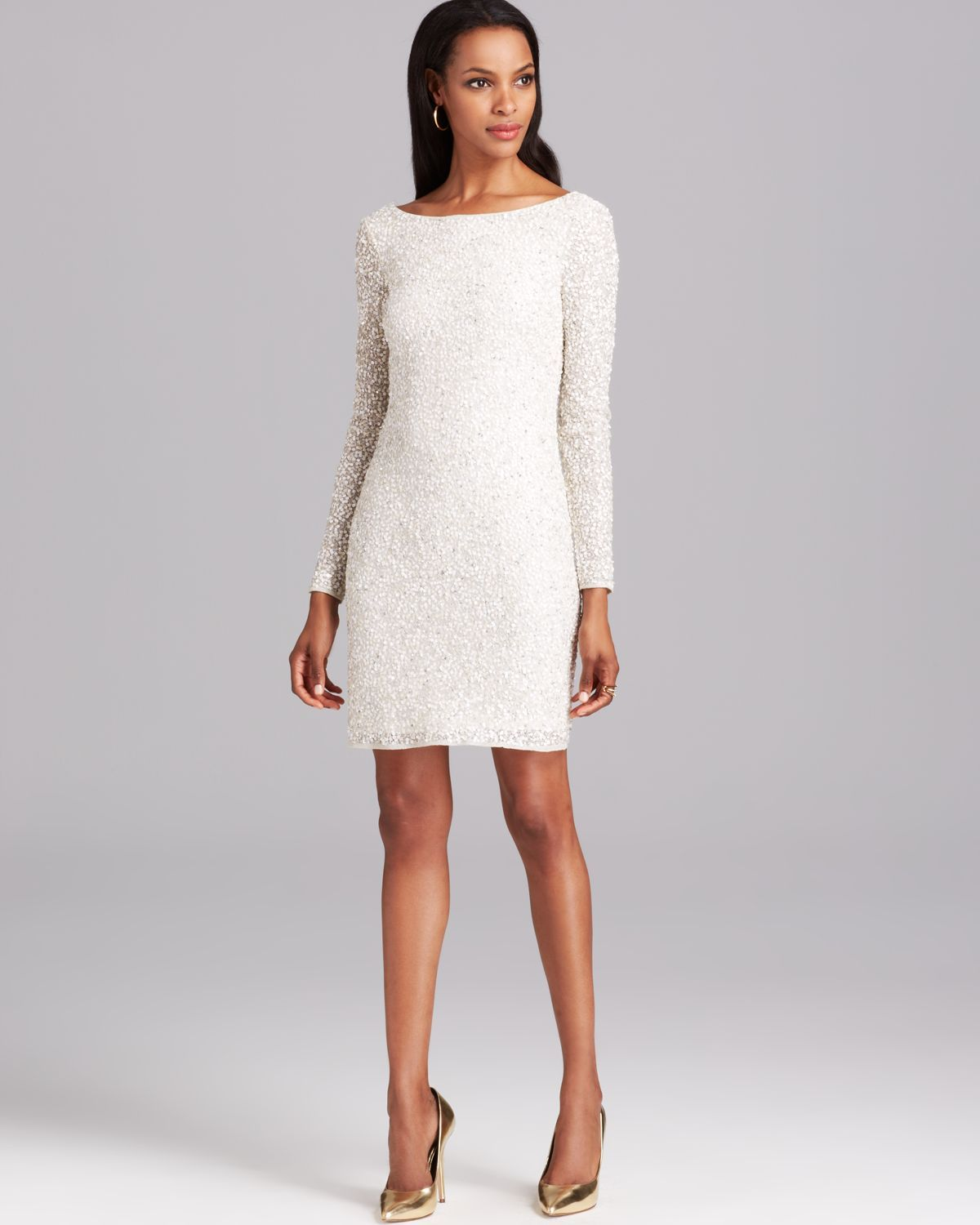 Aidan mattox Cocktail Dress Long Sleeve Sequin in White (Ivory ...