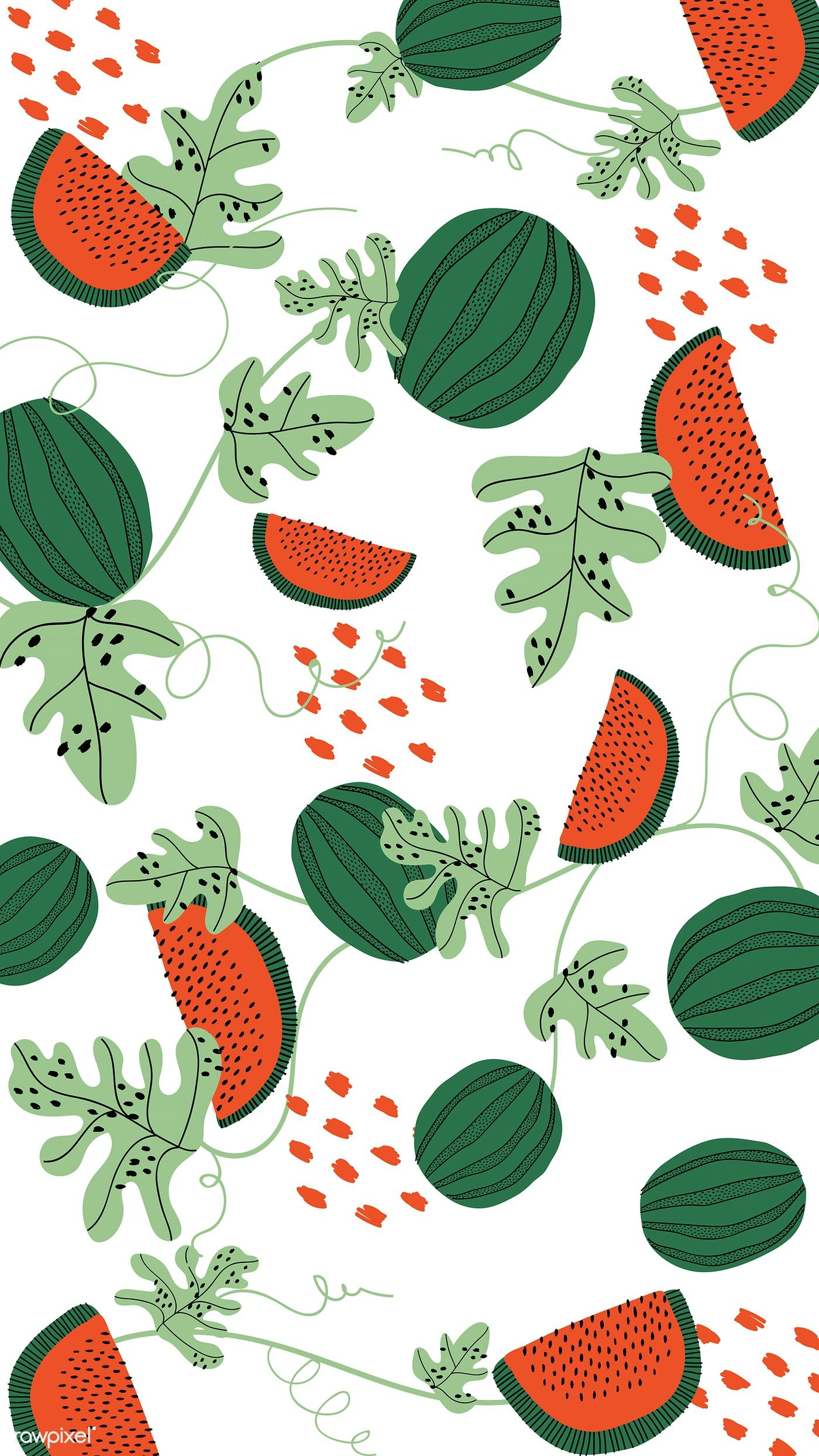 Download Premium Vector Of Watermelon Pattern On A White