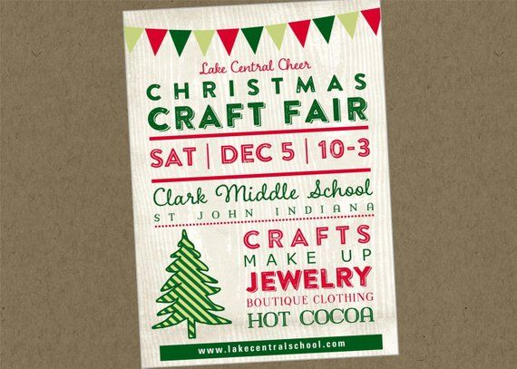 Christmas Craft Show Flyer.Printable Flyer Chrismas Holiday Fair Fest Bazaar Craft