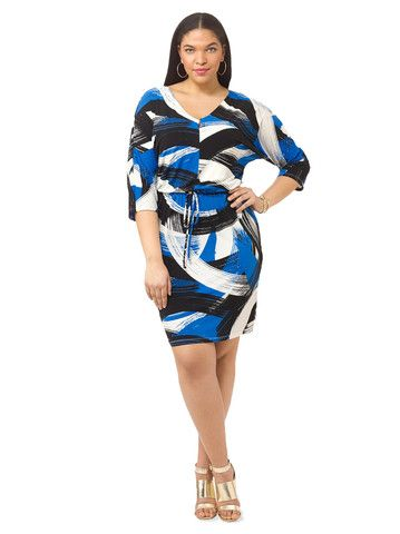 c8bb6ddadb882 Kimono Sleeve Dress In Blue Brushstroke Print. Find this Pin and more on plus  size ...