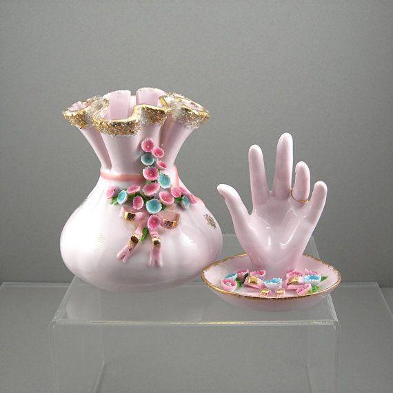 Vintage Lefton Pink Vase Ring Holder Applied Flowers Cottage Chic