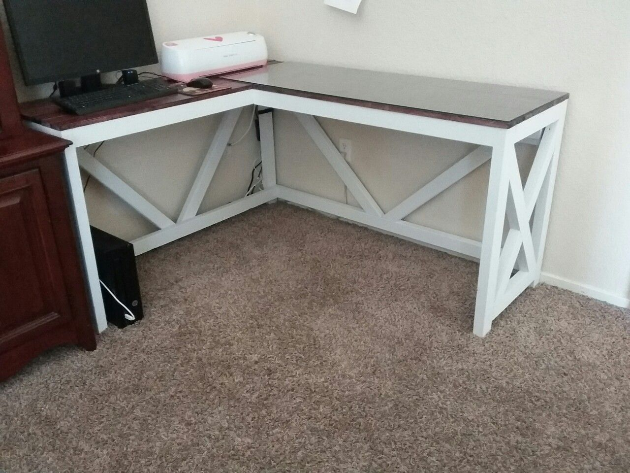 L shaped desk. .farmhouse, rustic My hubby made me (With
