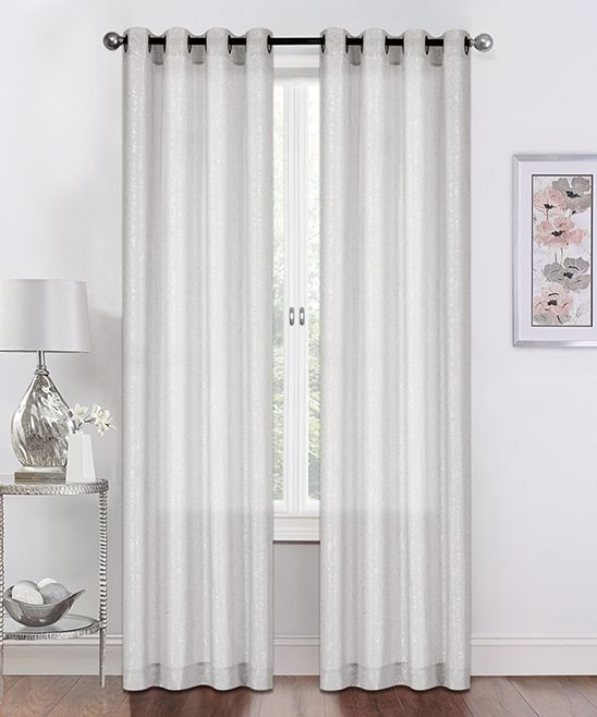 White Sadie Metallic Semi-Sheer Curtain Panel - Set of Two ...