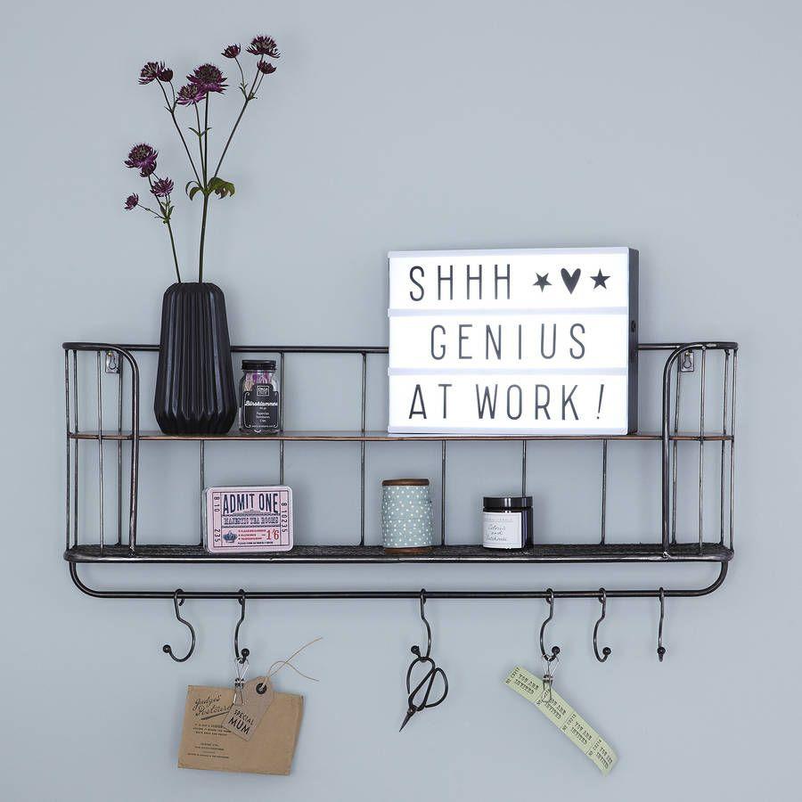 Two Shelf Metal Wall Rack | Industrial office storage, Wall racks ...