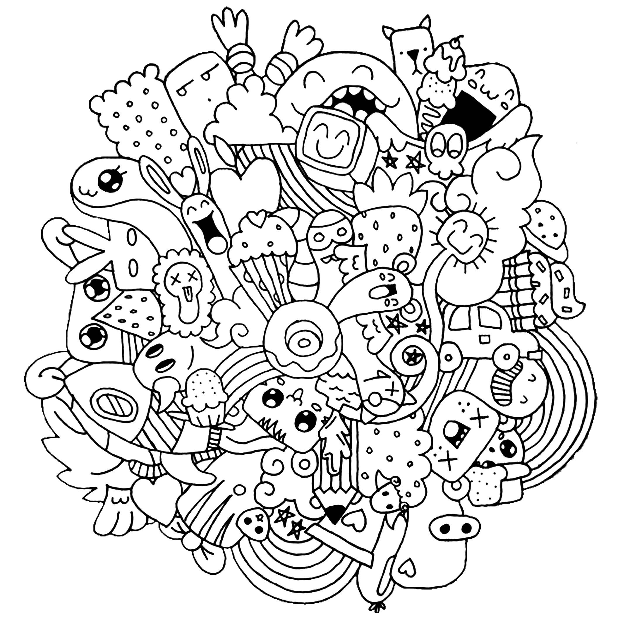 - Strange Creatures - Doodle Art / Doodling Coloring Pages For