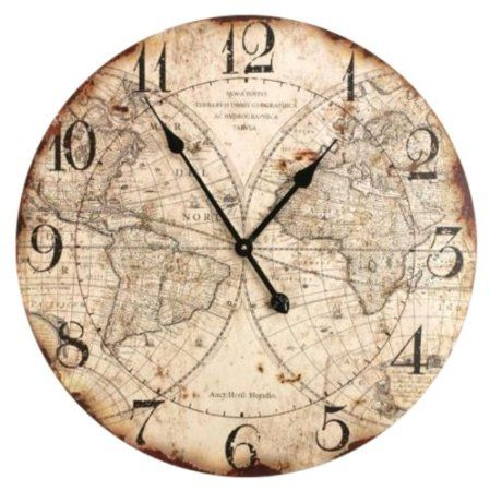 Amazon Com Manual Woodworkers Weavers World Map Wall Clock 24 Inch Home Kitchen World Map Wall Clock Old World Maps