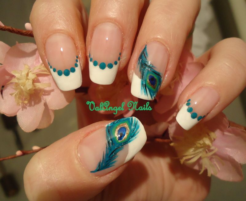 Peacock Feather French Mani. But of course! I want this...I have a top that matches these nails perfectly!